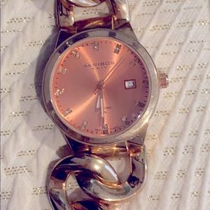 Womens Akribos XXIV Diamond Twist Chain Watch